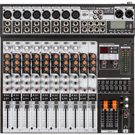 Mesa de Som 12 Canais USB SX1202FX Preta SOUNDCRAFT  - Audio Video & cia