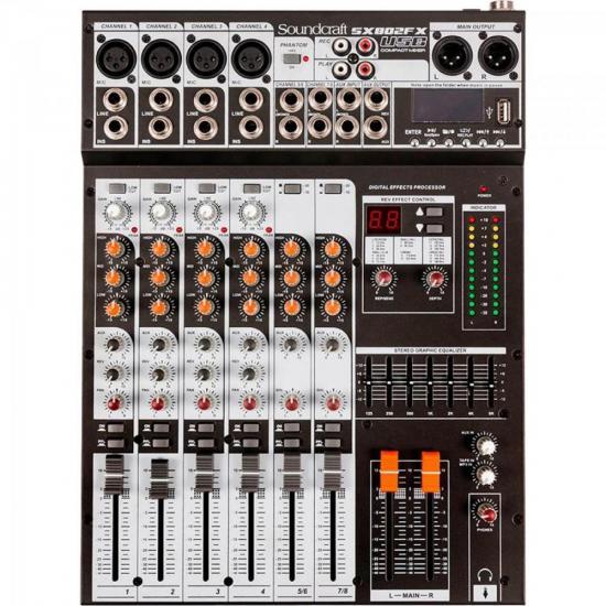 Mesa de Som 8 Canais USB SX802FX Preta SOUNDCRAFT  - Audio Video & cia
