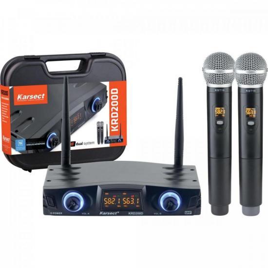 Microfone de Mão Duplo sem Fio KRD200DM KARSECT  - Audio Video & cia