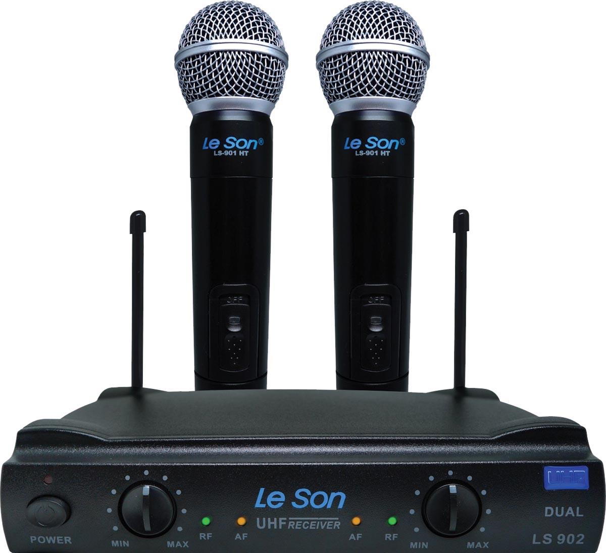 MICROFONE SEM FIO DE MAO UHF LS-902 HT/HT DUPLO PRETO  - Audio Video & cia