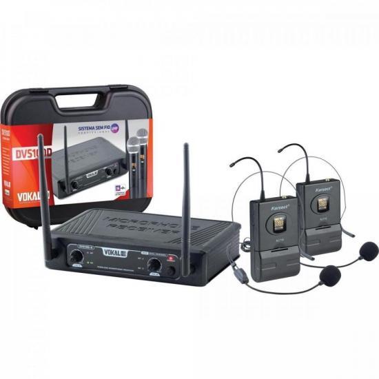 Microfone Sem Fio Headset Duplo DVS100DH VOKAL  - Audio Video & cia