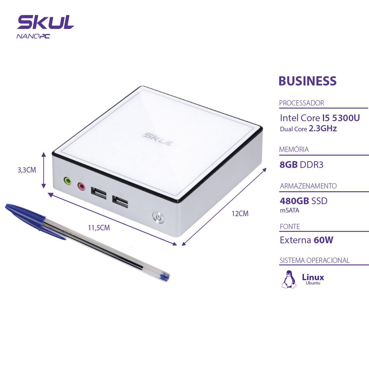 NANO COMPUTADOR BUSINESS B500 - I5 5300U 2.3GHZ MEM 8GB DDR3 SODIMM SSD 480GB WI-FI FONTE EXTERNA LINUX  - Audio Video & cia