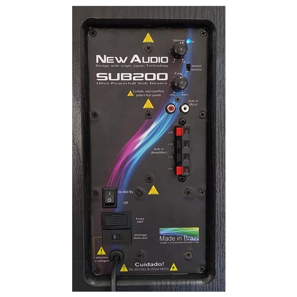 Subwoofer New Audio Front Design Sub200 12 pol 200Wrms  - Audio Video & cia