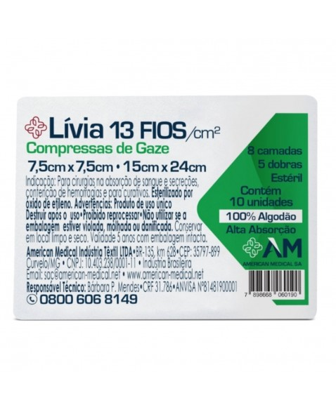 COMPRESSA DE GAZE ESTERIL 7,5x7,5 13 FIOS LIVIA - AMERICA MEDICAL - 10PCT C/10UN