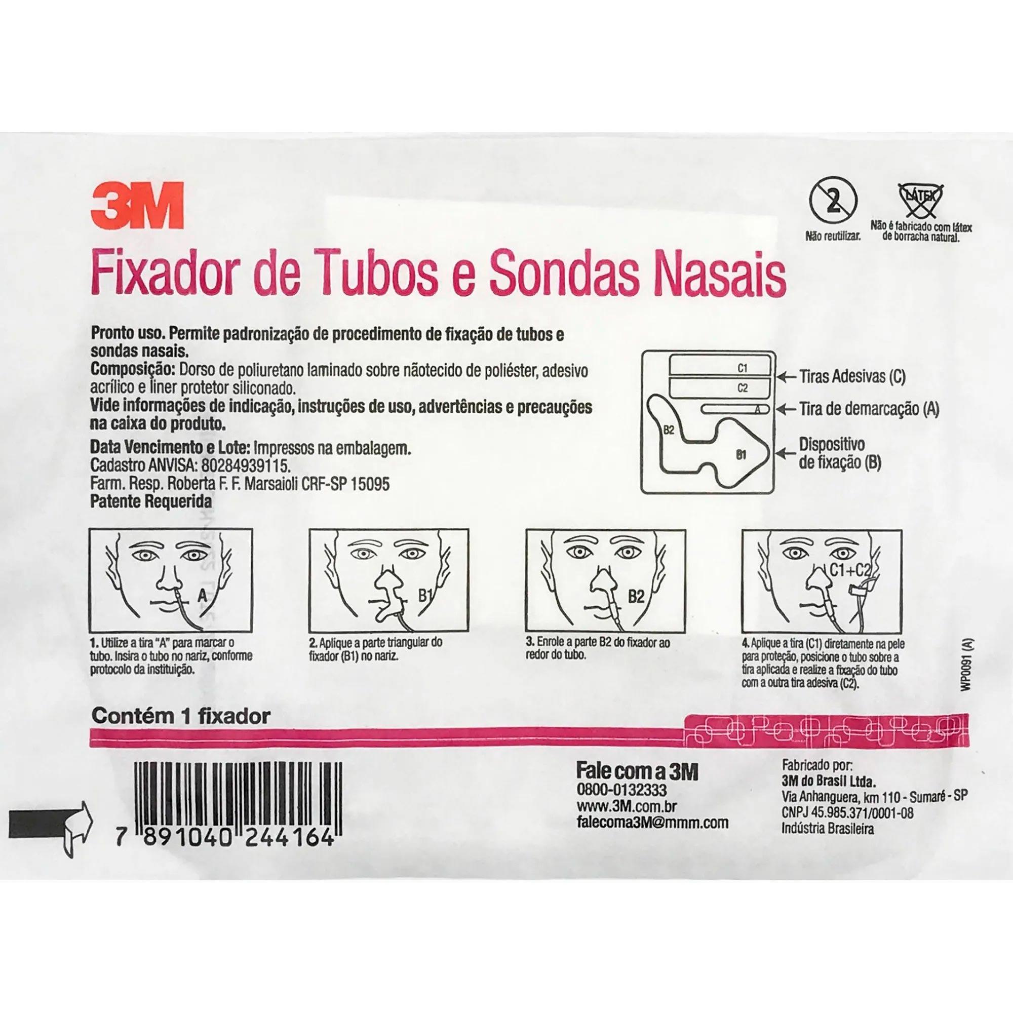 FIXADOR DE TUBOS DE SONDAS NASAL - 3M - 1UN
