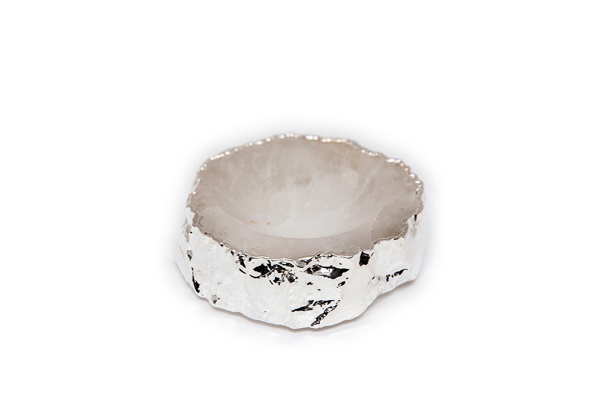 Mini Bowl Quartzo Cristal com Borda Prata