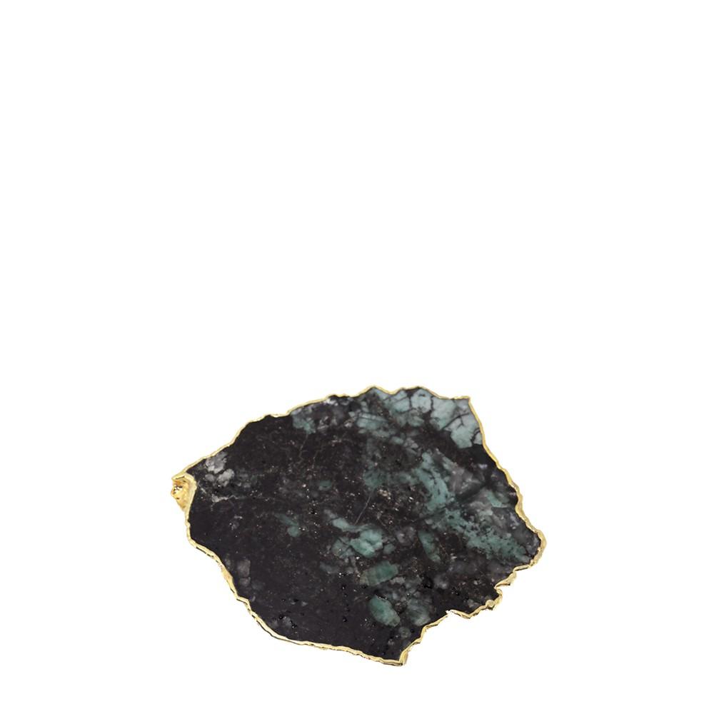 Mini Platter Esmeralda Bruta com Borda Ouro