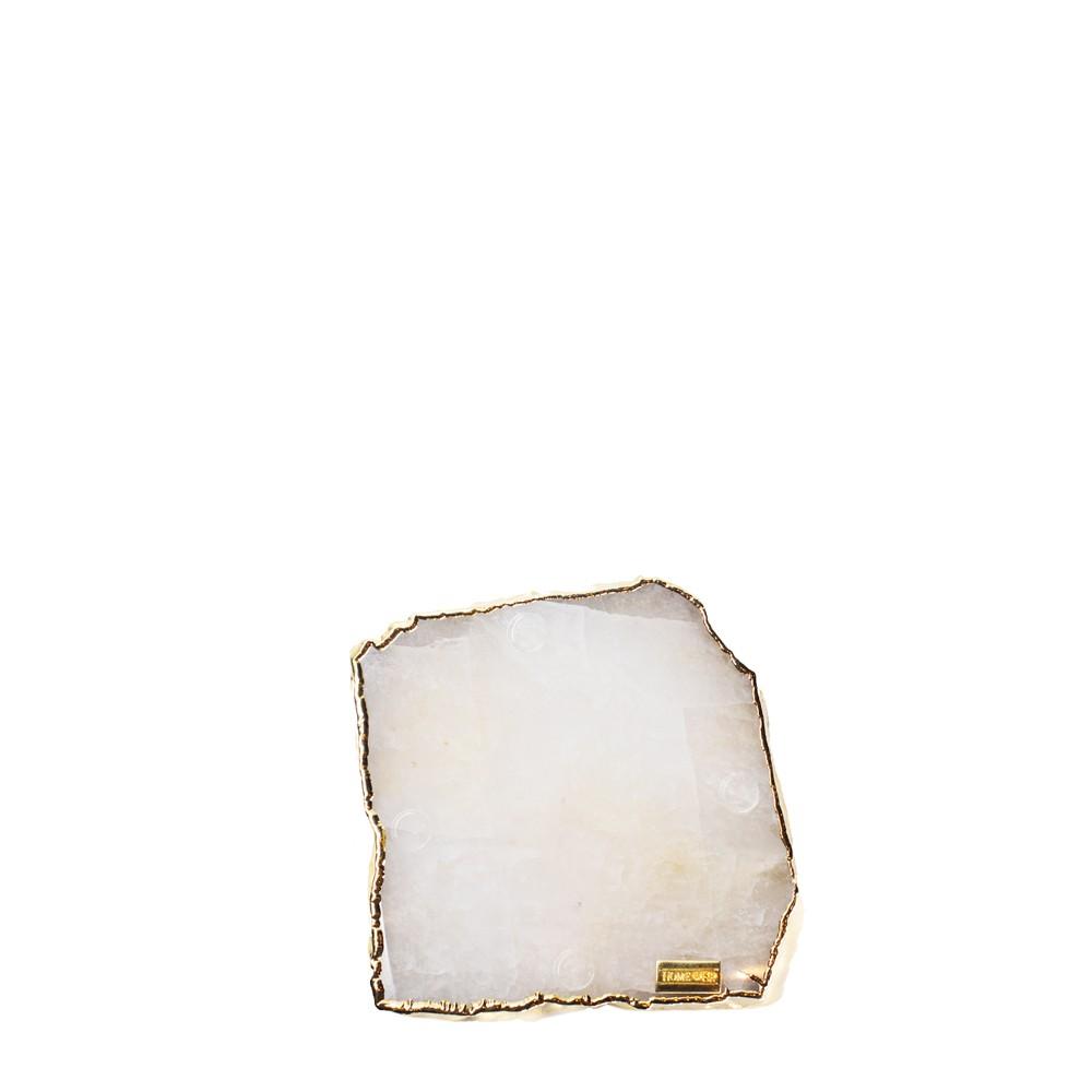 Mini Platter Quartzo Cristal com Borda Ouro