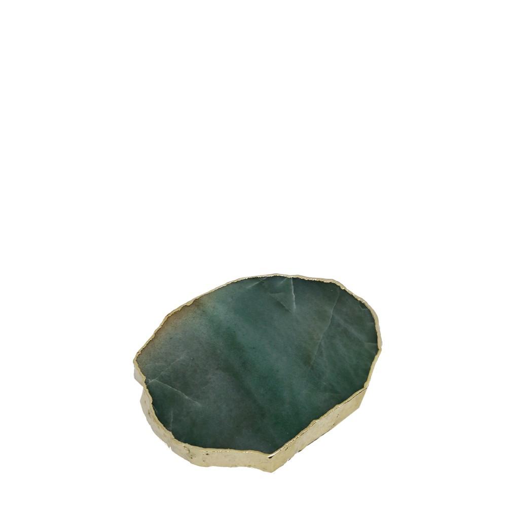 Mini Platter Quartzo Verde Esmeralda com Borda Ouro