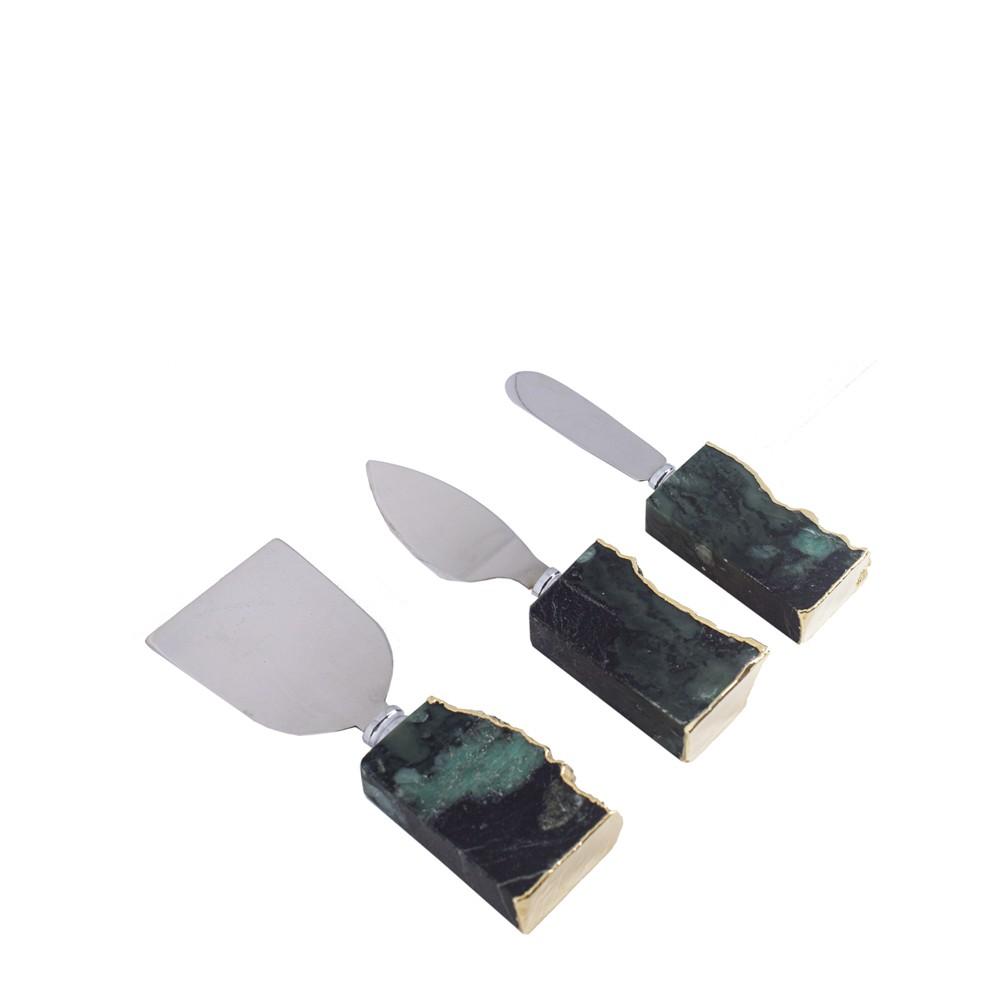 Mini Set de talheres Esmeralda Bruta com Borda Ouro