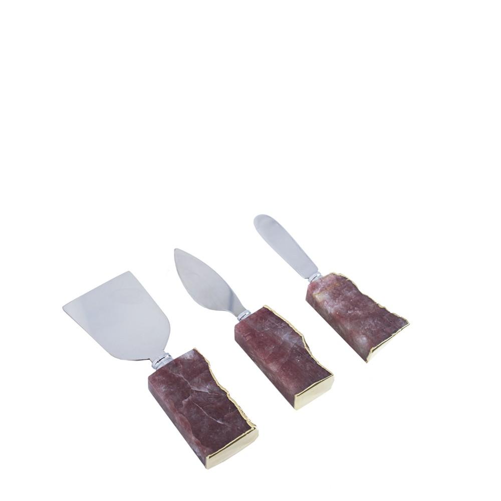 Mini Set de Talheres Quartzo Morango com Borda Ouro