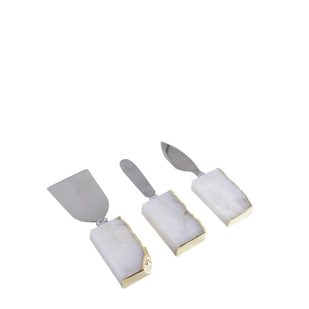 Mini Set Talheres Quartzo Cristal com Borda Ouro