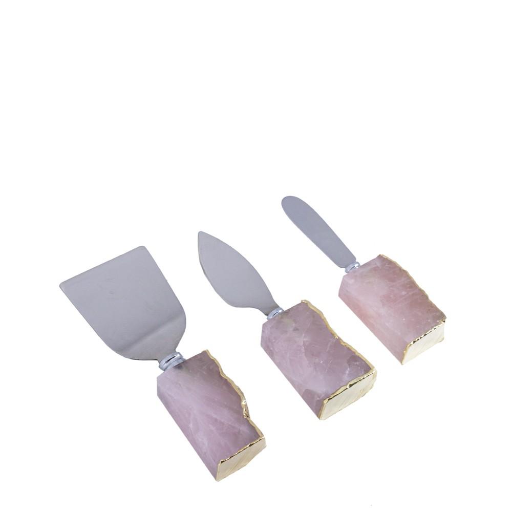 Mini Set Talheres Quartzo Rosa com Borda Ouro