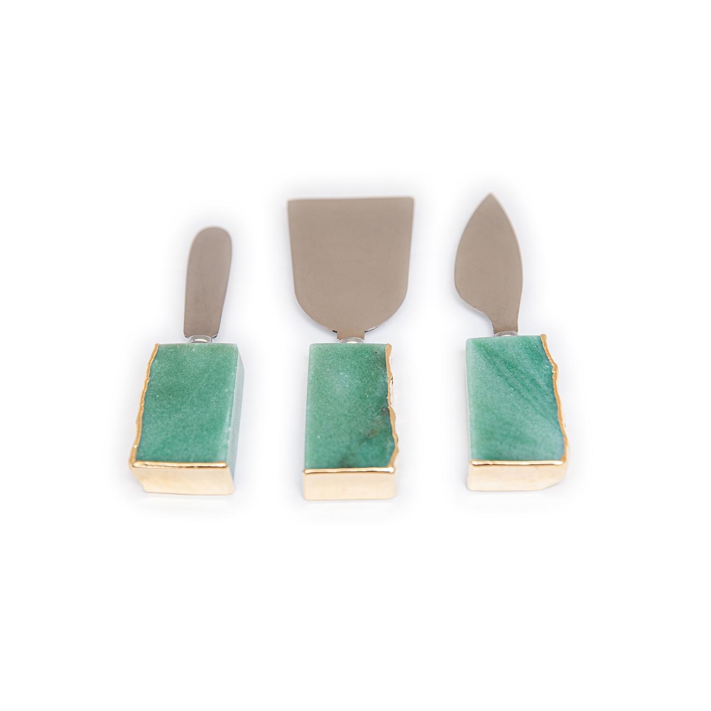 Mini Set Talheres Quartzo Verde com Borda Ouro