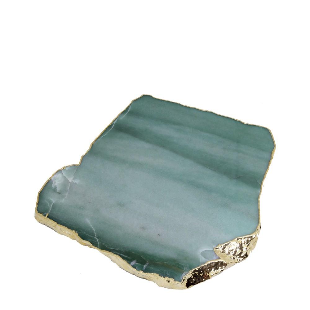Platter Quartzo Verde com Borda Ouro