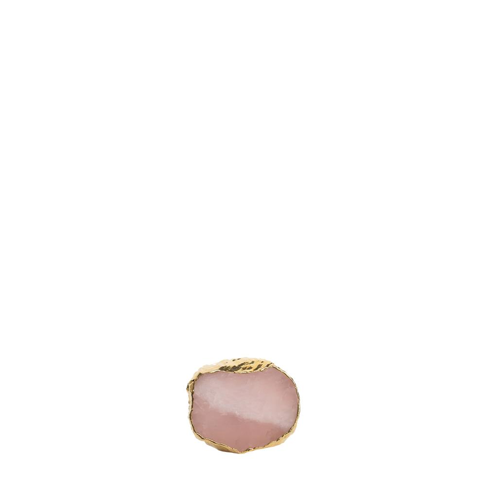Puxador Quartzo Rosa com Borda Ouro