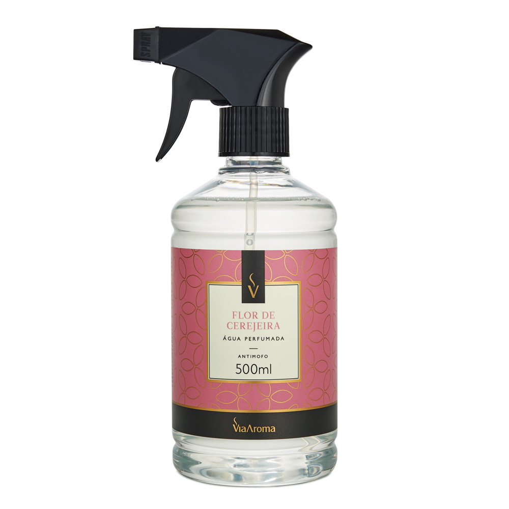 Água Perfumada para Tecidos Via Aroma Flor De Cerejeira 500ml