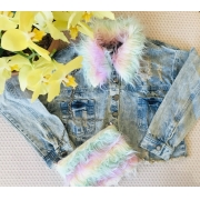 Jaqueta Jeans Vanilla Cream com gola removível