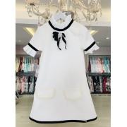 Vestido Casual Luluzinha off white com detalhes em pérolas