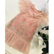 Vestido Casual Petit Cherie de tule rose com bordados de flores e brilhos