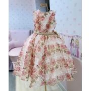 Vestido Clássico Menina de Seda organza floral rosa