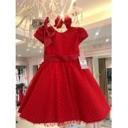 Vestido Clássico vermelho coberto com tule