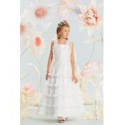 Vestido Conceito Petit Cherie Kids Off White com detalhes em tule