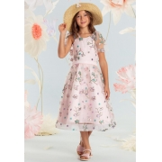 Vestido Conceito Petit Cherie rosa coberto com tule bordado