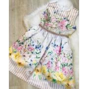 Vestido Luluzinha Floral com cinto bordado