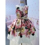 Vestido Menina de Seda acetinado floral