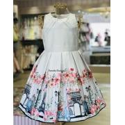 Vestido Menina de Seda barrado floral Paris