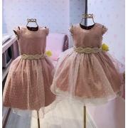 Vestido Menina de Seda festa rosa antigo com detalhes