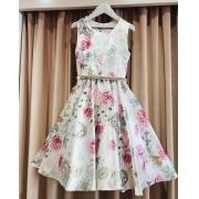Vestido Menina de Seda Floral Rose