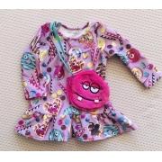 Vestido Mon Sucré casual com bolsinha de pelinho