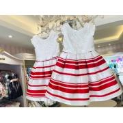 Vestido Petit Cherie Branco com listras vermelhas