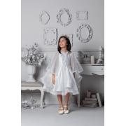 Vestido Petit Cherie Conceito Branco com bordados e manga fluida