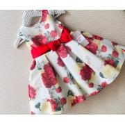 Vestido Petit Cherie Floral vermelho e amarelo