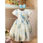 Vestido Petit Cherie Fluido estampa com detalhes em paetê