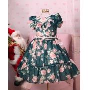 Vestido Petit Cherie Fluido Verde floral