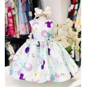 Vestido Petit Cherie Fundo Thiffany com estampa colorida