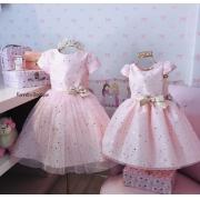 Vestido Petit Cherie Rosa tule com estrelinhas