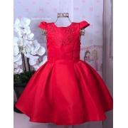 Vestido Petit Cherie vermelho com detalhes de brilho no busto