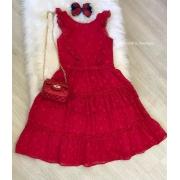 Vestido Petit Cherie vermelho estrelas