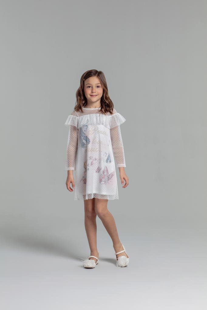 Vestido Casual Petit Cherie Borboletas coberto com tule