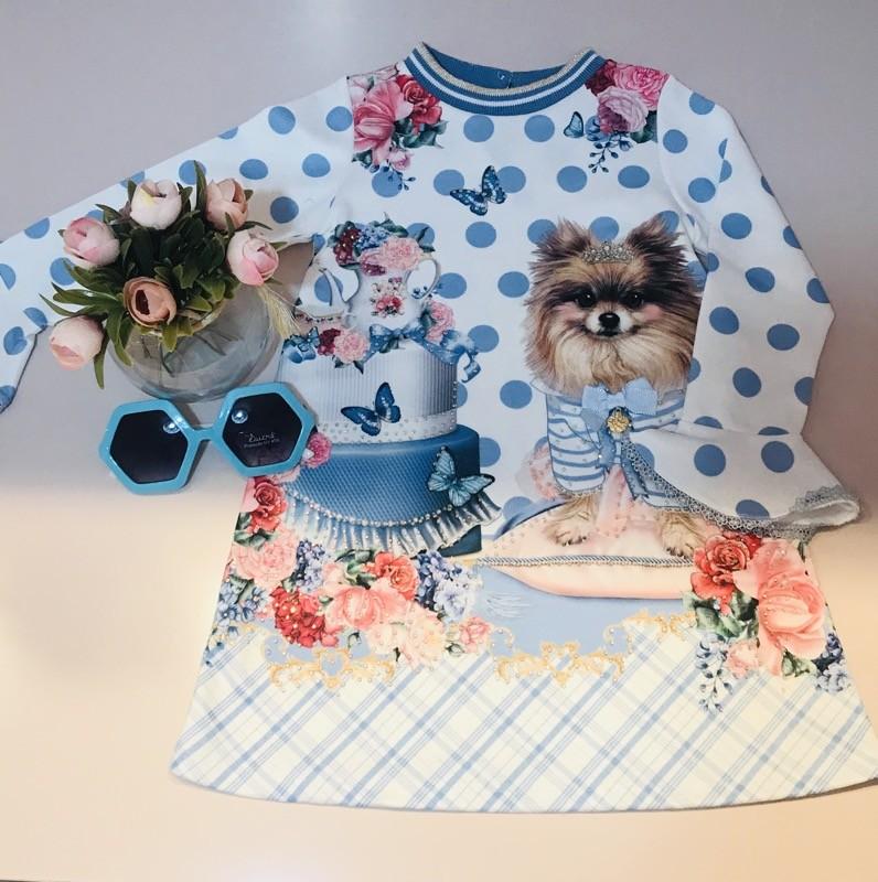 Vestido Casual Petit Cherie estampa azul bebe com brilhos