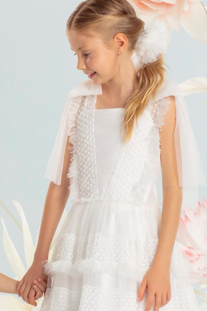 Vestido Conceito Petit Cherie Martina Off White com detalhes em tule