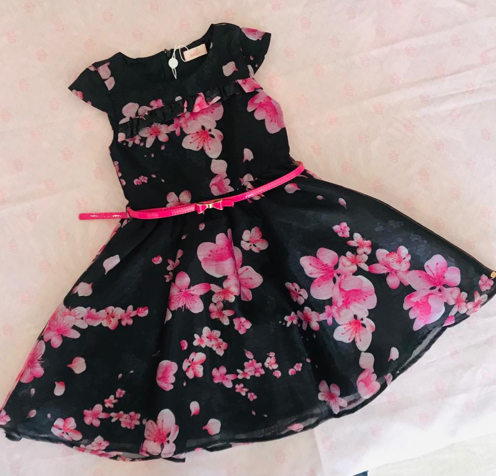 Vestido Festa preto com estampa floral