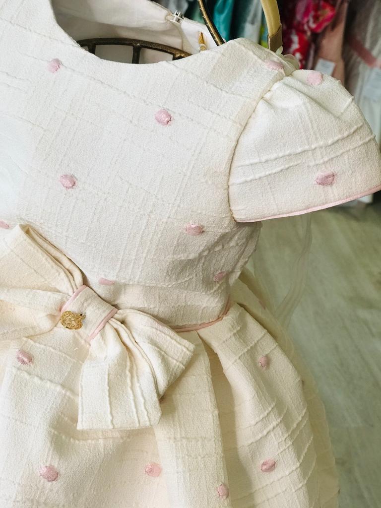 VESTIDO INFANTIL PETIT CHERIE BEGE DE POÁS ROSA