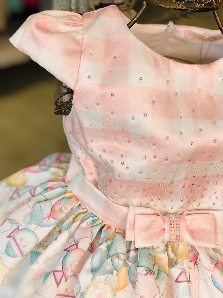 VESTIDO INFANTIL PETIT CHERIE ROSA CLARO LHAMA