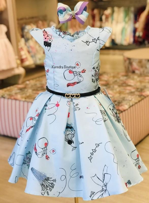 Vestido Málagah Baby Blue Estampa Vaso de rosas